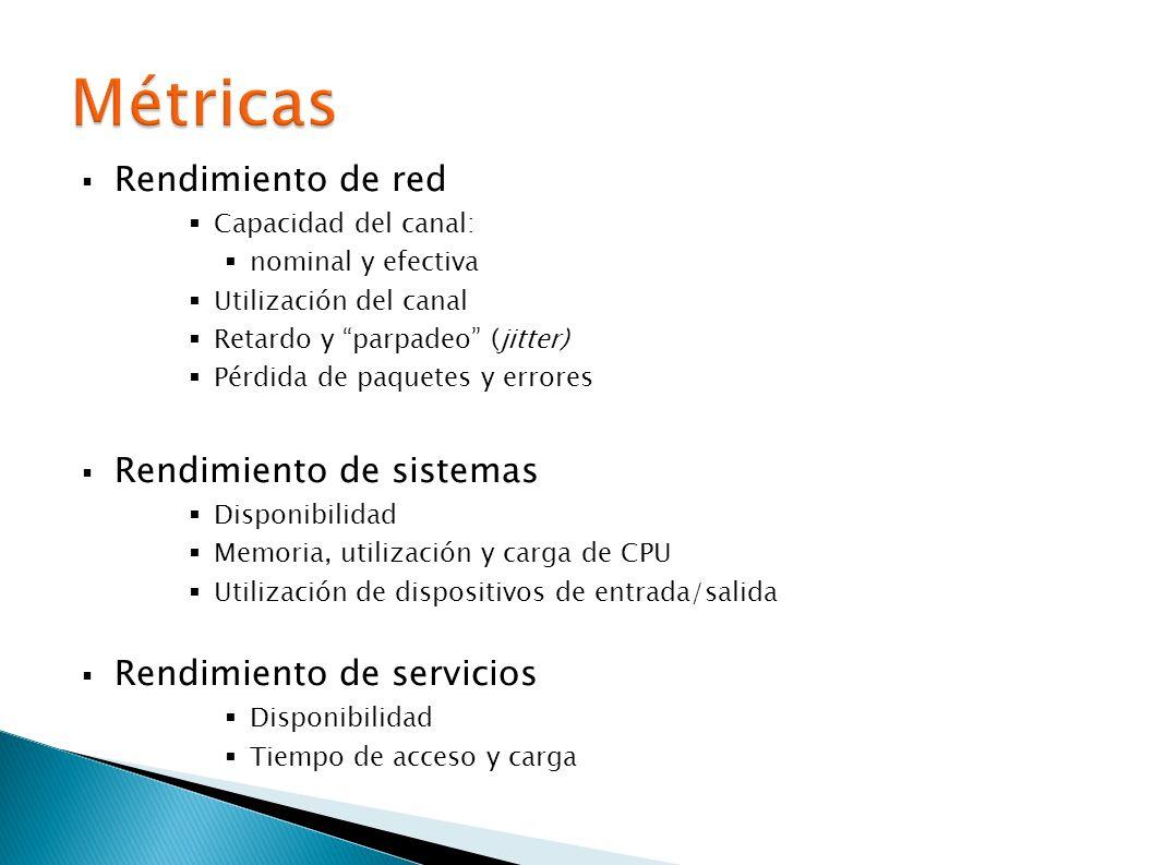 Rendimiento de red Capacidad del canal: nominal y efectiva Utilización del canal Retardo y parpadeo (jitter) Pérdida de paquetes y errores Rendimiento de sistemas Disponibilidad Memoria, utilización y carga de CPU Utilización de dispositivos de entrada/salida Rendimiento de servicios Disponibilidad Tiempo de acceso y carga