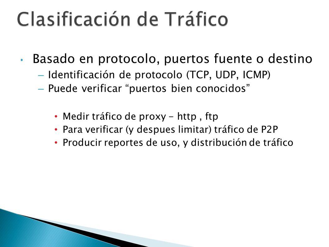 Clasificación de Tráfico Basado en protocolo, puertos fuente o destino –Identificación de protocolo (TCP, UDP, ICMP) –Puede verificar puertos bien con