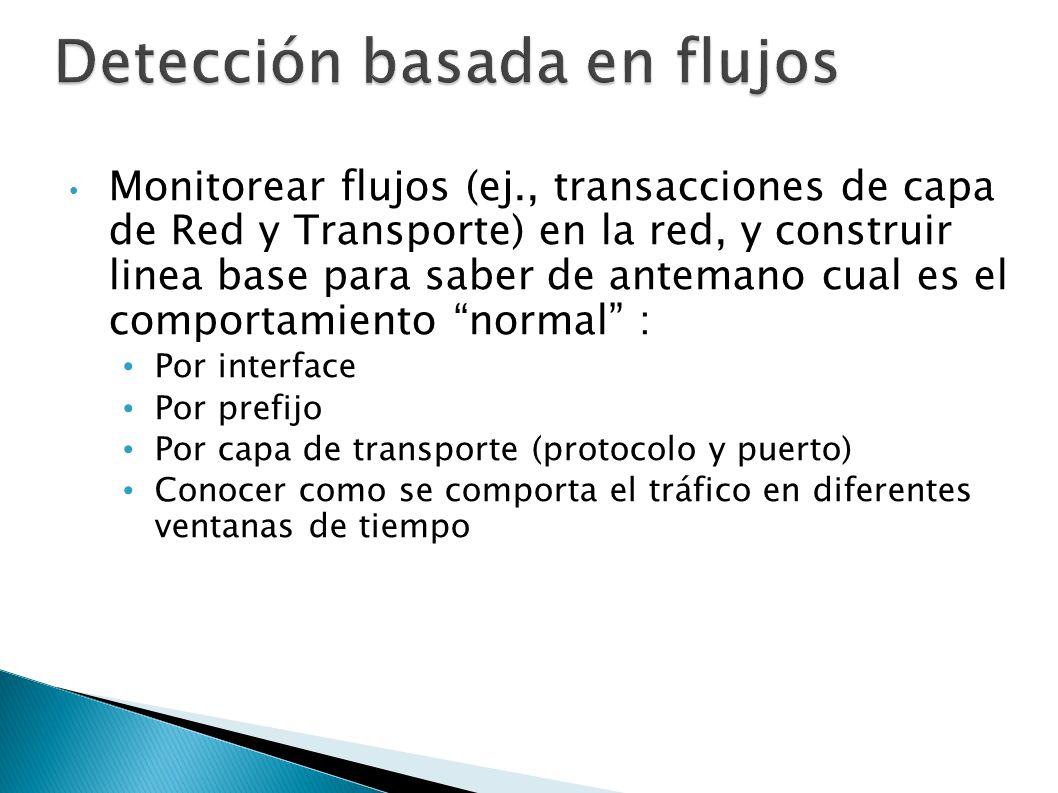 Detección basada en flujos Monitorear flujos (ej., transacciones de capa de Red y Transporte) en la red, y construir linea base para saber de antemano