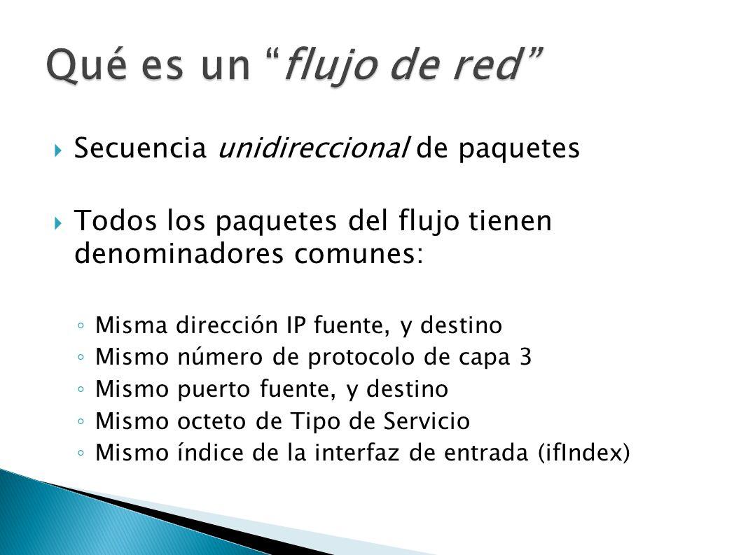 Secuencia unidireccional de paquetes Todos los paquetes del flujo tienen denominadores comunes: Misma dirección IP fuente, y destino Mismo número de p