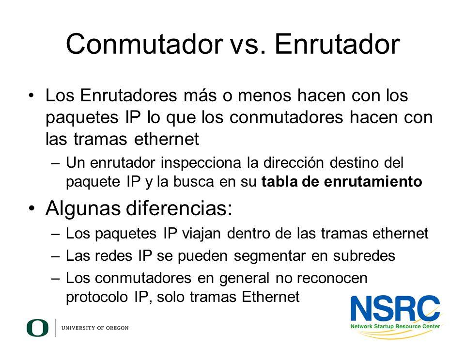 Los Enrutadores más o menos hacen con los paquetes IP lo que los conmutadores hacen con las tramas ethernet –Un enrutador inspecciona la dirección des