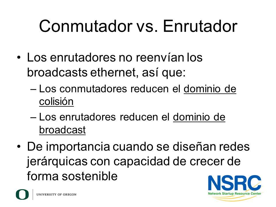 Conmutador vs. Enrutador Los enrutadores no reenvían los broadcasts ethernet, así que: –Los conmutadores reducen el dominio de colisión –Los enrutador