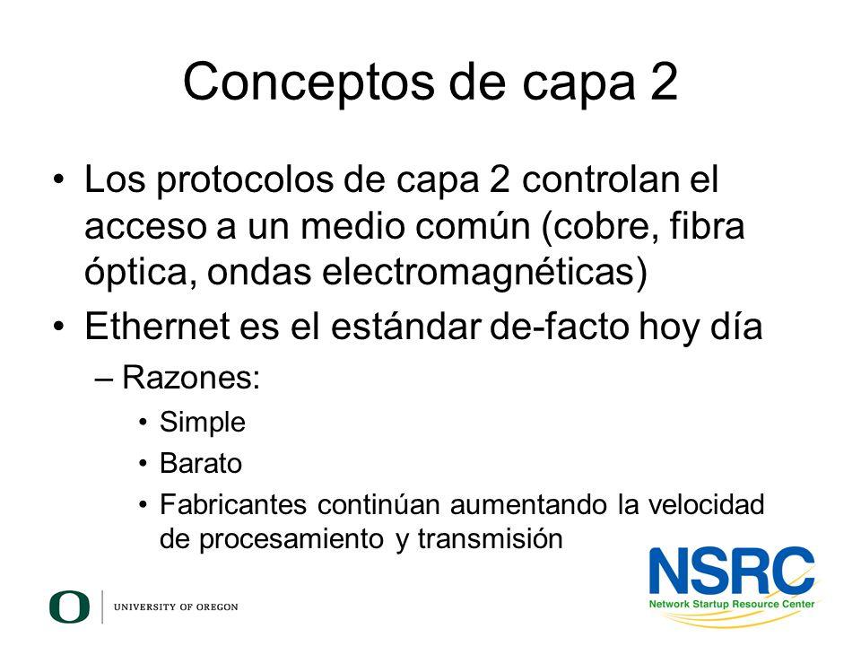 Conceptos de capa 2 Los protocolos de capa 2 controlan el acceso a un medio común (cobre, fibra óptica, ondas electromagnéticas) Ethernet es el estánd