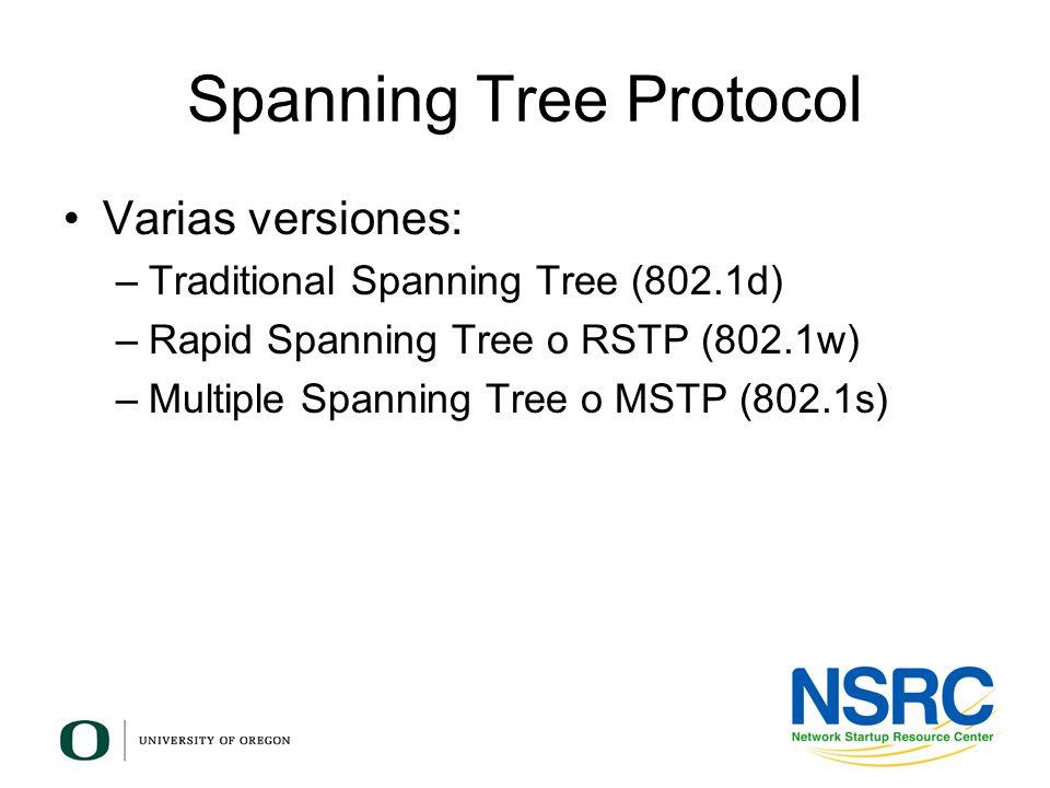 Spanning Tree Protocol Varias versiones: –Traditional Spanning Tree (802.1d) –Rapid Spanning Tree o RSTP (802.1w) –Multiple Spanning Tree o MSTP (802.