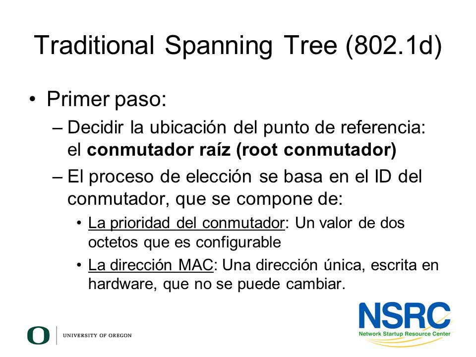 Traditional Spanning Tree (802.1d) Primer paso: –Decidir la ubicación del punto de referencia: el conmutador raíz (root conmutador) –El proceso de ele