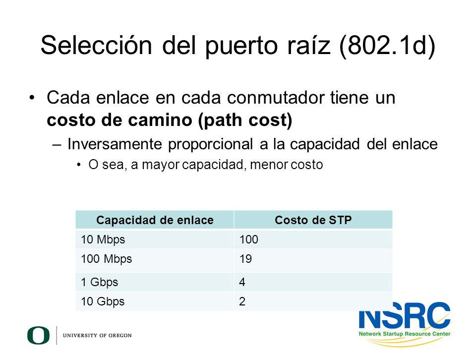Selección del puerto raíz (802.1d) Cada enlace en cada conmutador tiene un costo de camino (path cost) –Inversamente proporcional a la capacidad del e
