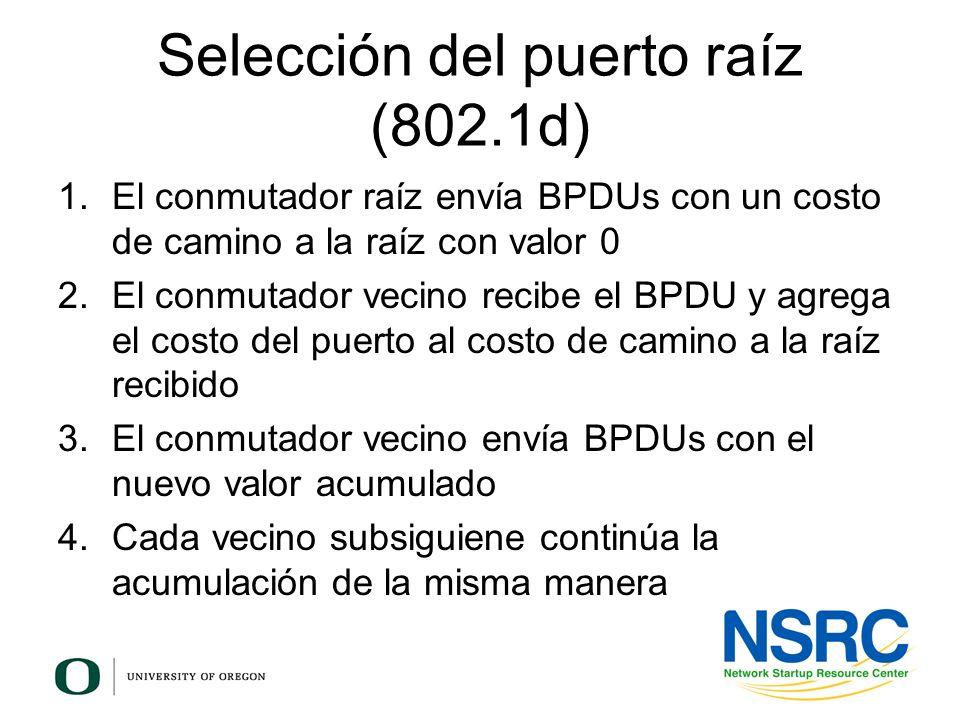 Selección del puerto raíz (802.1d) 1.El conmutador raíz envía BPDUs con un costo de camino a la raíz con valor 0 2.El conmutador vecino recibe el BPDU