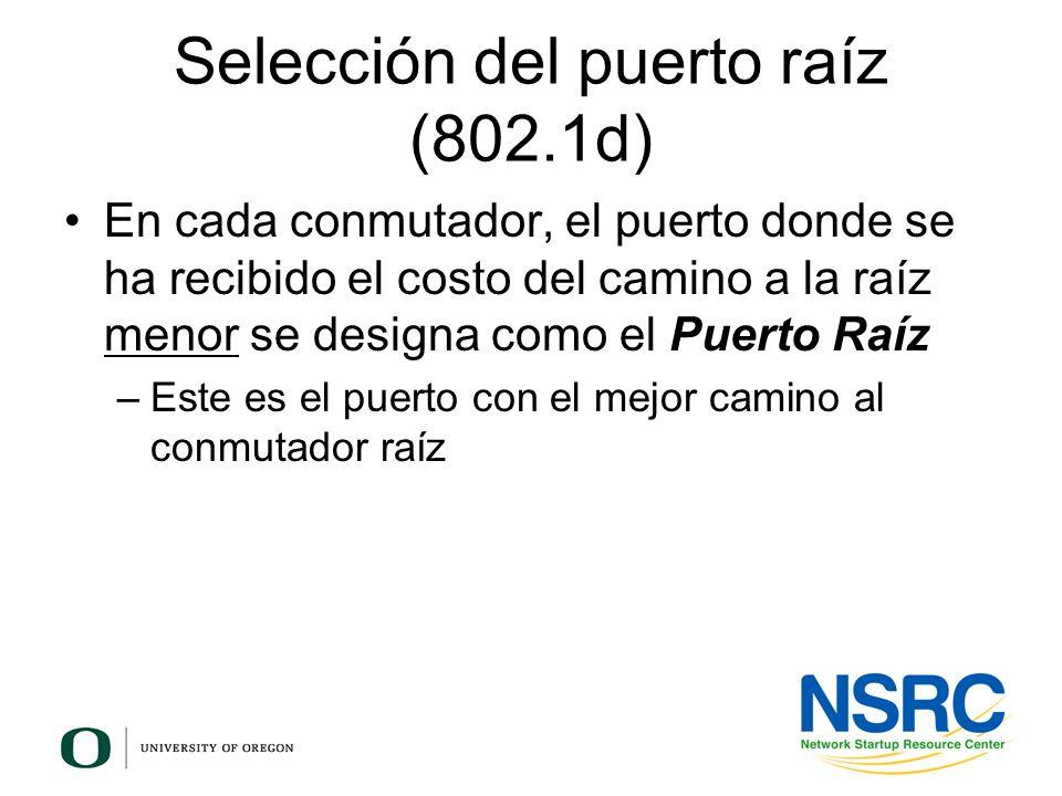 Selección del puerto raíz (802.1d) En cada conmutador, el puerto donde se ha recibido el costo del camino a la raíz menor se designa como el Puerto Ra