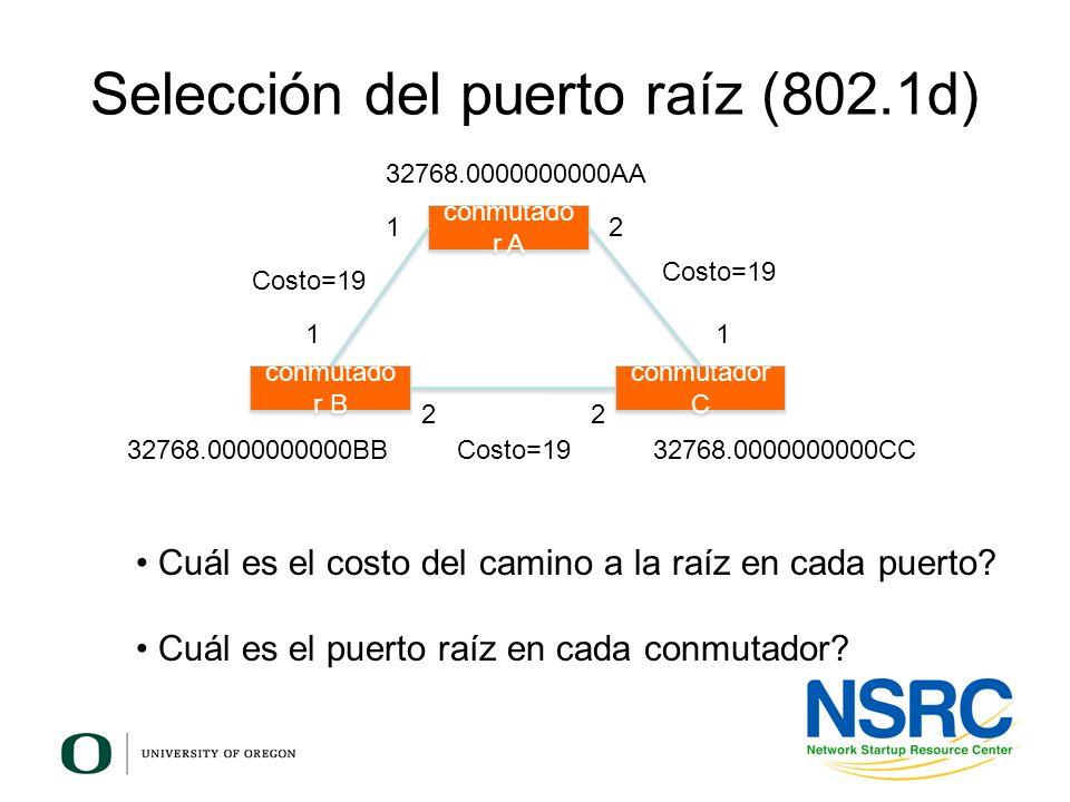 Selección del puerto raíz (802.1d) conmutado r B conmutador C conmutado r A 12 11 22 Costo=19 32768.0000000000AA 32768.0000000000BB32768.0000000000CC