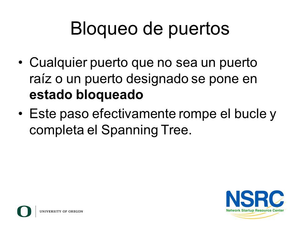 Bloqueo de puertos Cualquier puerto que no sea un puerto raíz o un puerto designado se pone en estado bloqueado Este paso efectivamente rompe el bucle
