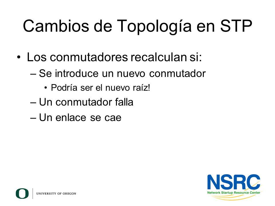 Cambios de Topología en STP Los conmutadores recalculan si: –Se introduce un nuevo conmutador Podría ser el nuevo raíz! –Un conmutador falla –Un enlac