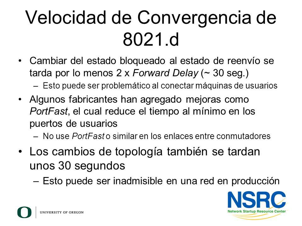 Velocidad de Convergencia de 8021.d Cambiar del estado bloqueado al estado de reenvío se tarda por lo menos 2 x Forward Delay (~ 30 seg.) –Esto puede