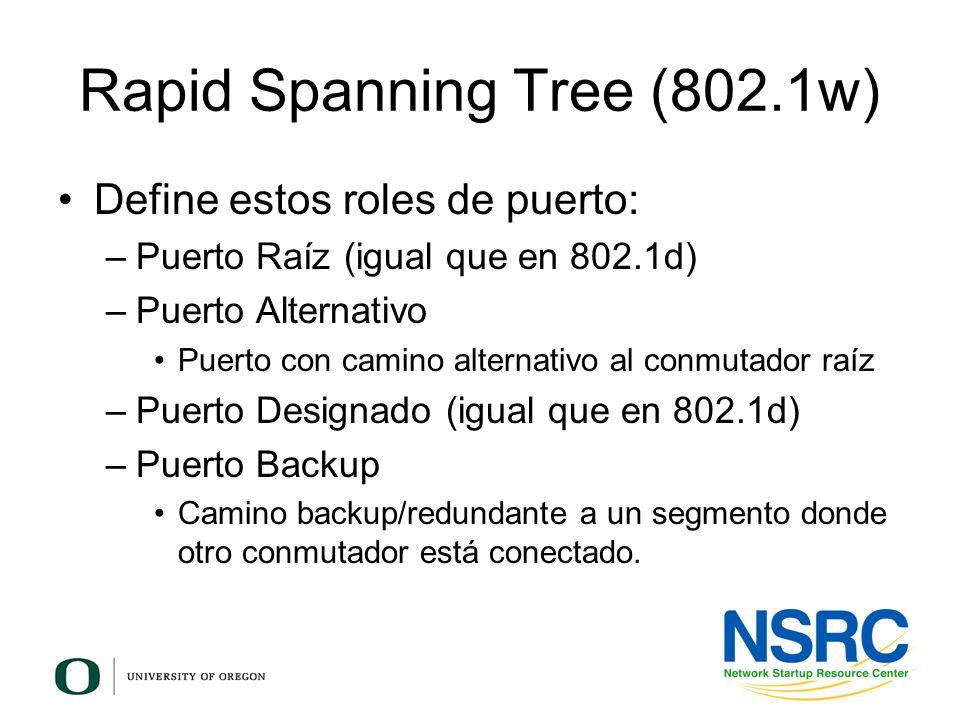 Rapid Spanning Tree (802.1w) Define estos roles de puerto: –Puerto Raíz (igual que en 802.1d) –Puerto Alternativo Puerto con camino alternativo al con