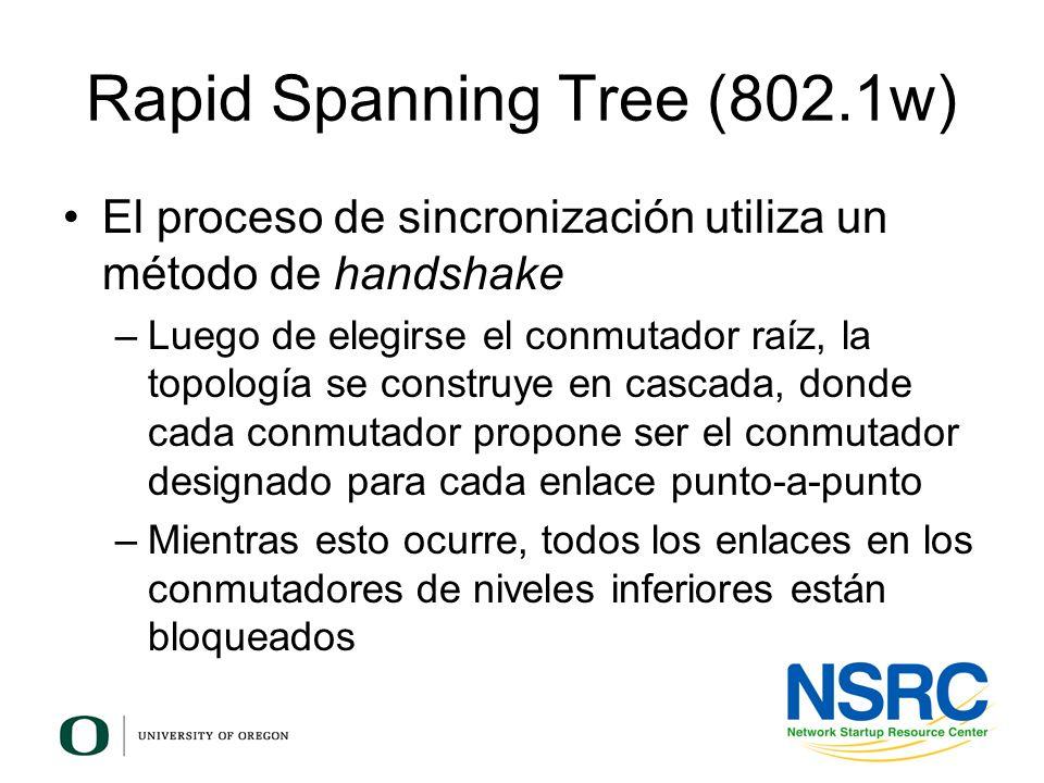 Rapid Spanning Tree (802.1w) El proceso de sincronización utiliza un método de handshake –Luego de elegirse el conmutador raíz, la topología se constr
