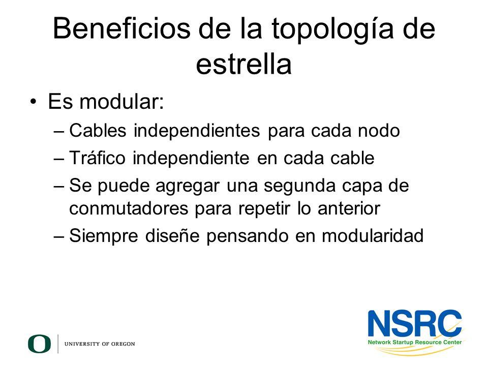 Beneficios de la topología de estrella Es modular: –Cables independientes para cada nodo –Tráfico independiente en cada cable –Se puede agregar una se