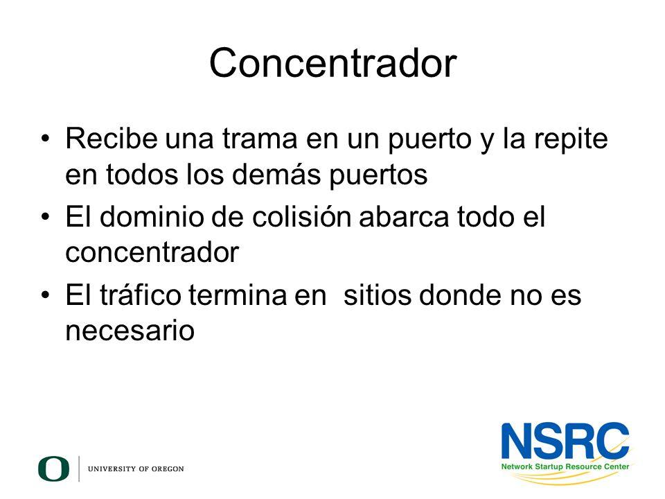 Concentrador Recibe una trama en un puerto y la repite en todos los demás puertos El dominio de colisión abarca todo el concentrador El tráfico termin