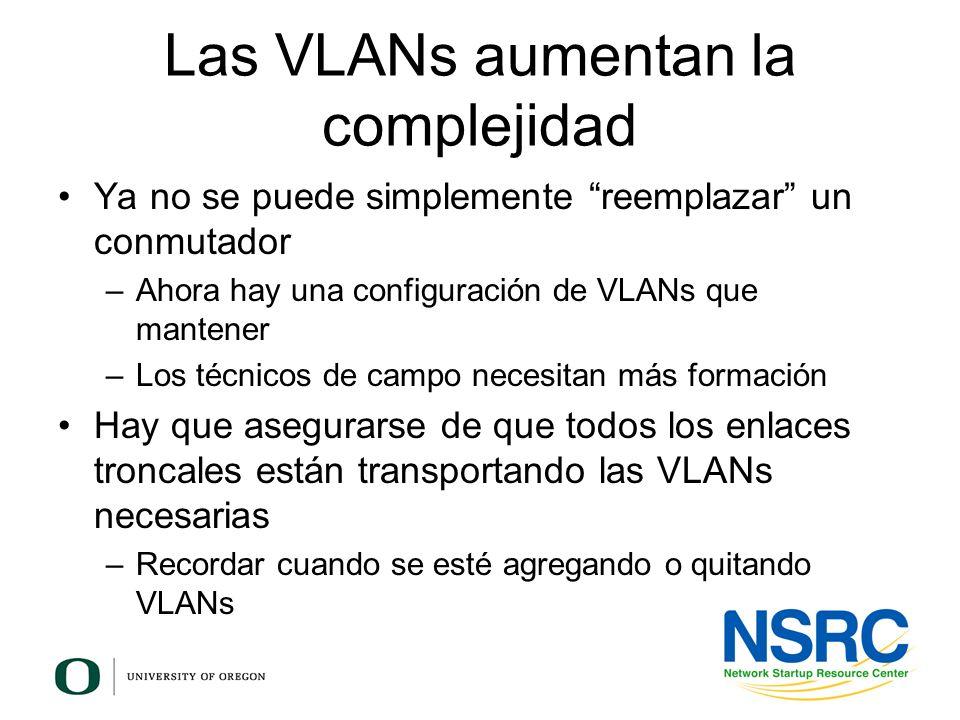 Las VLANs aumentan la complejidad Ya no se puede simplemente reemplazar un conmutador –Ahora hay una configuración de VLANs que mantener –Los técnicos