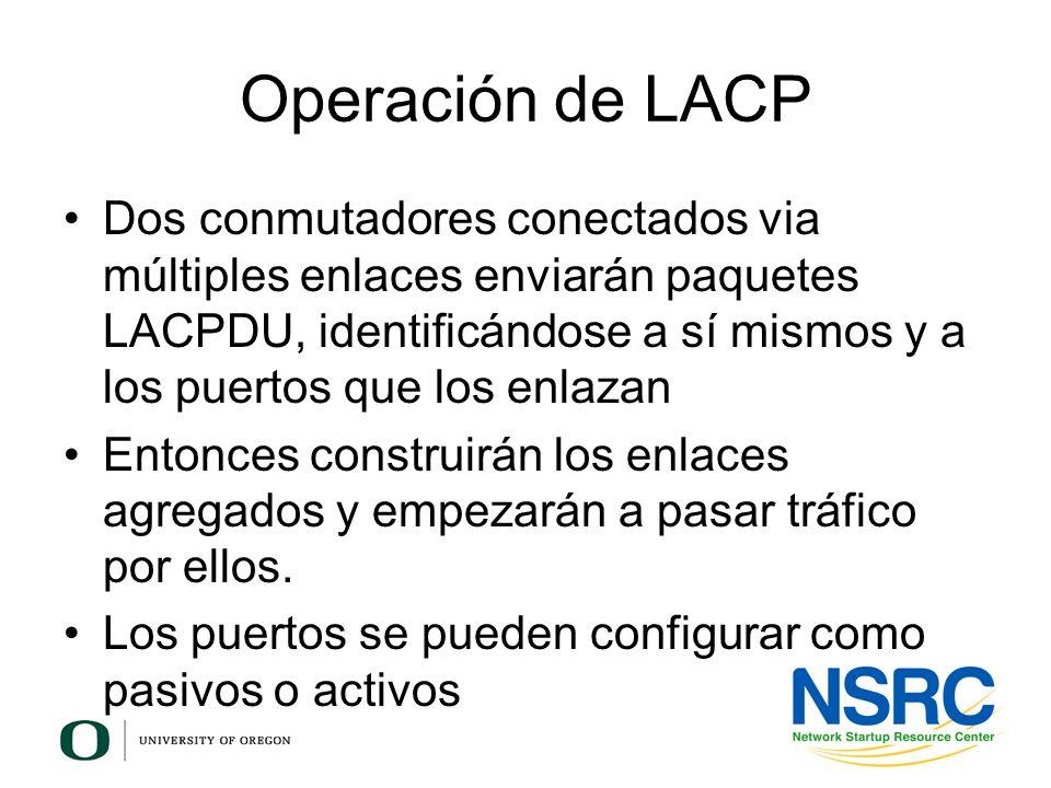 Operación de LACP Dos conmutadores conectados via múltiples enlaces enviarán paquetes LACPDU, identificándose a sí mismos y a los puertos que los enla