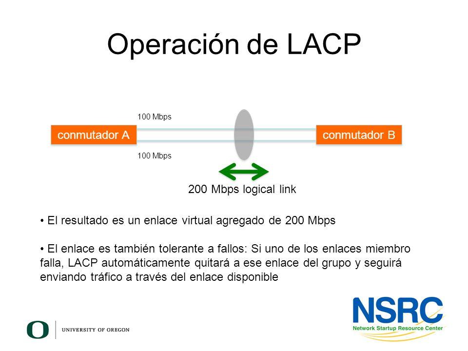 Operación de LACP 200 Mbps logical link El resultado es un enlace virtual agregado de 200 Mbps El enlace es también tolerante a fallos: Si uno de los