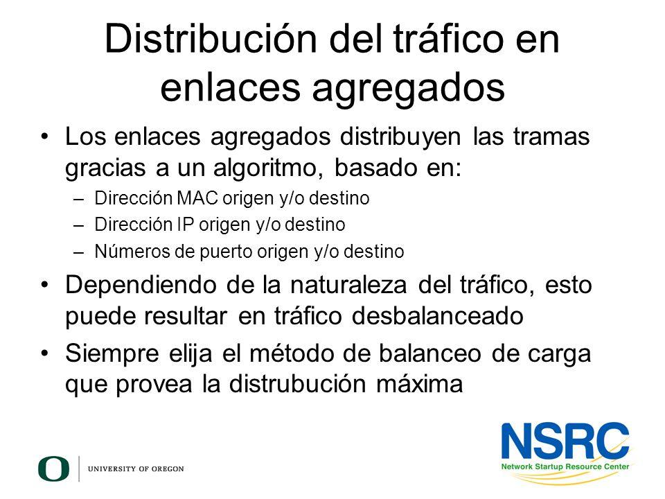 Distribución del tráfico en enlaces agregados Los enlaces agregados distribuyen las tramas gracias a un algoritmo, basado en: –Dirección MAC origen y/