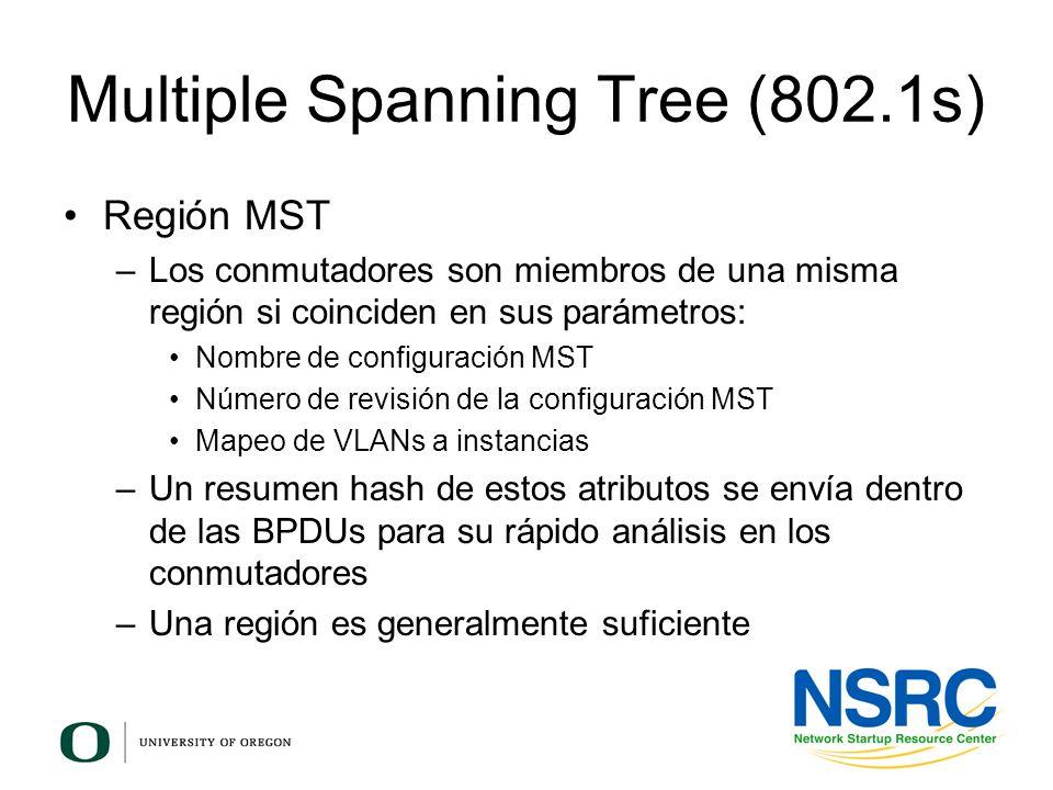 Multiple Spanning Tree (802.1s) Región MST –Los conmutadores son miembros de una misma región si coinciden en sus parámetros: Nombre de configuración