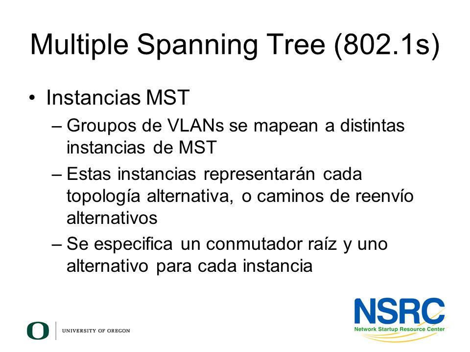 Multiple Spanning Tree (802.1s) Instancias MST –Groupos de VLANs se mapean a distintas instancias de MST –Estas instancias representarán cada topologí
