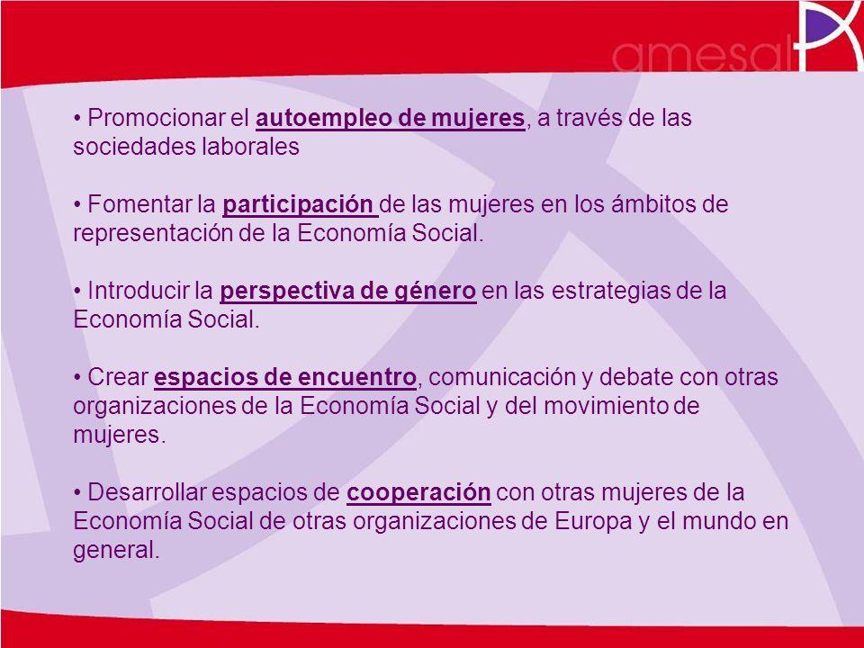 Promocionar el autoempleo de mujeres, a través de las sociedades laborales Fomentar la participación de las mujeres en los ámbitos de representación d