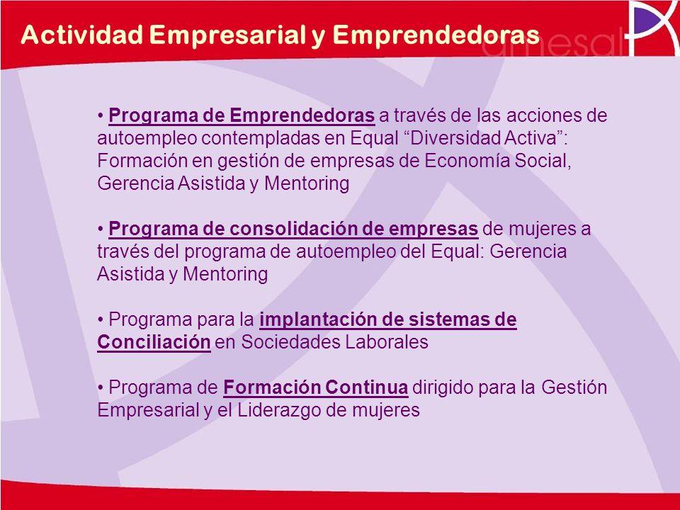 Actividad Empresarial y Emprendedoras Programa de Emprendedoras a través de las acciones de autoempleo contempladas en Equal Diversidad Activa: Formac