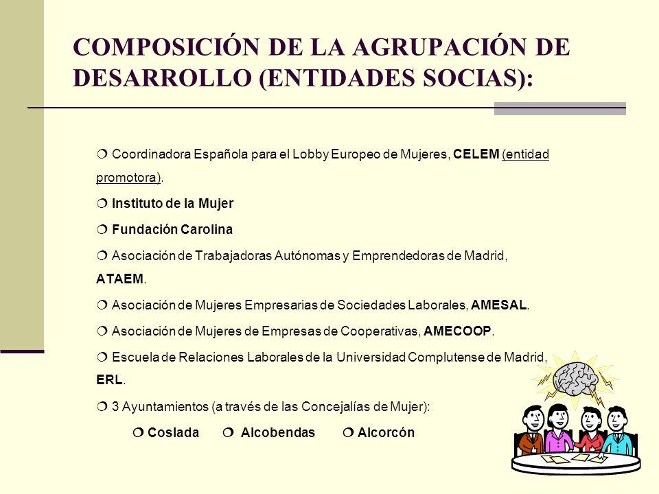 COMPOSICIÓN DE LA AGRUPACIÓN DE DESARROLLO (ENTIDADES SOCIAS): Coordinadora Española para el Lobby Europeo de Mujeres, CELEM (entidad promotora).