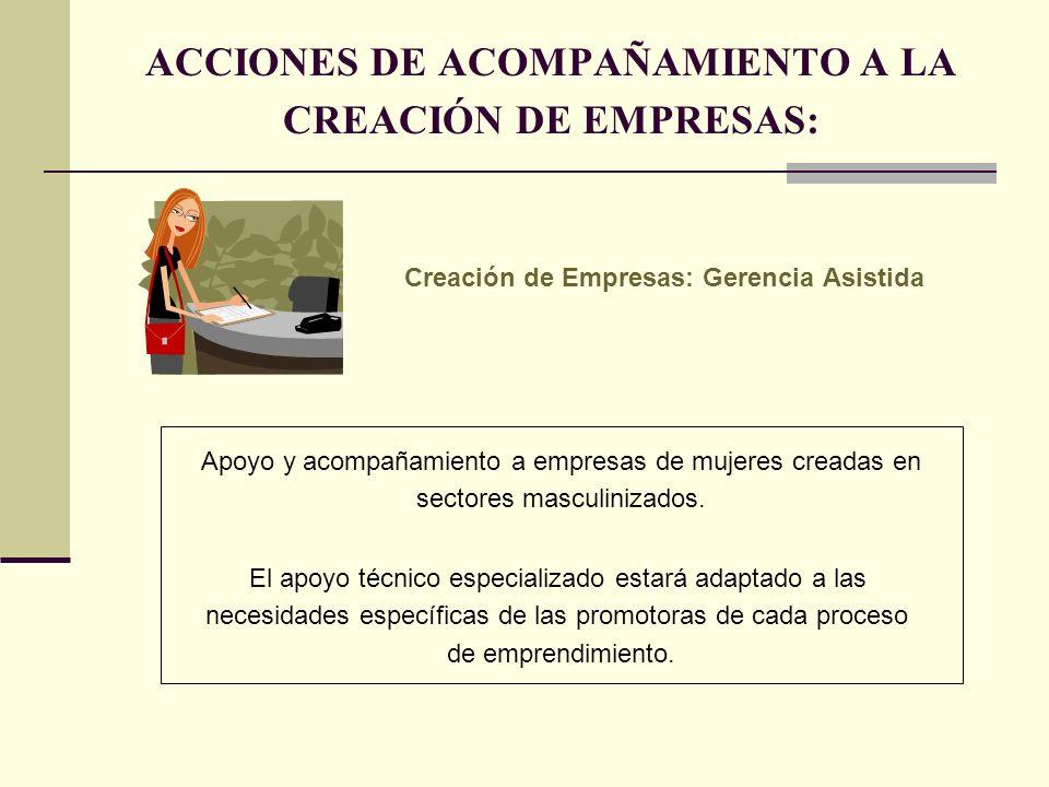ACCIONES DE ACOMPAÑAMIENTO A LA CREACIÓN DE EMPRESAS: Creación de Empresas: Gerencia Asistida Apoyo y acompañamiento a empresas de mujeres creadas en sectores masculinizados.