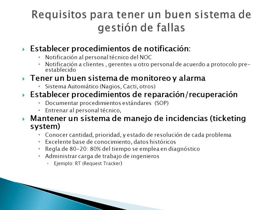 Establecer procedimientos de notificación: Notificación al personal técnico del NOC Notificación a clientes, gerentes u otro personal de acuerdo a pro