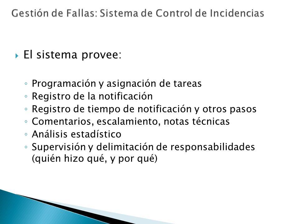 El sistema provee: Programación y asignación de tareas Registro de la notificación Registro de tiempo de notificación y otros pasos Comentarios, escal