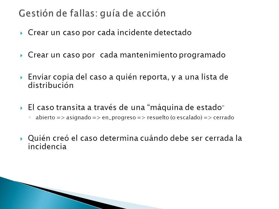 Crear un caso por cada incidente detectado Crear un caso por cada mantenimiento programado Enviar copia del caso a quién reporta, y a una lista de dis