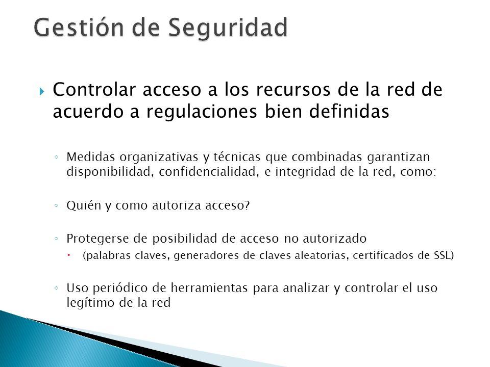 Controlar acceso a los recursos de la red de acuerdo a regulaciones bien definidas Medidas organizativas y técnicas que combinadas garantizan disponib