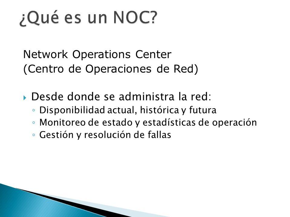 Network Operations Center (Centro de Operaciones de Red) Desde donde se administra la red: Disponibilidad actual, histórica y futura Monitoreo de esta