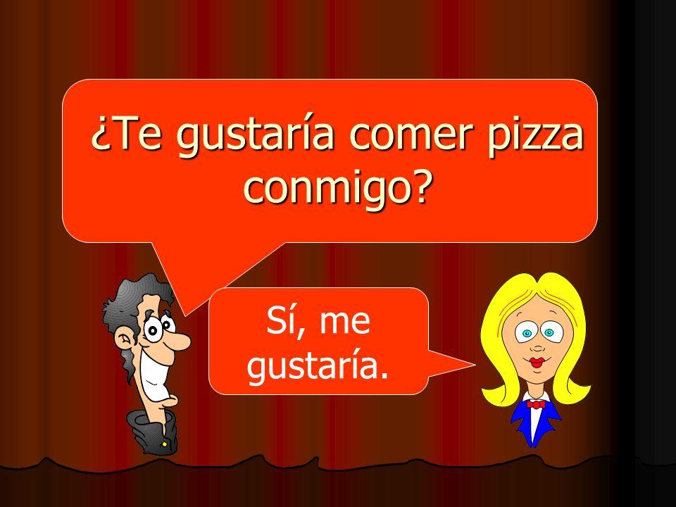 ¿Te gustaría comer pizza conmigo? Sí, me gustaría.