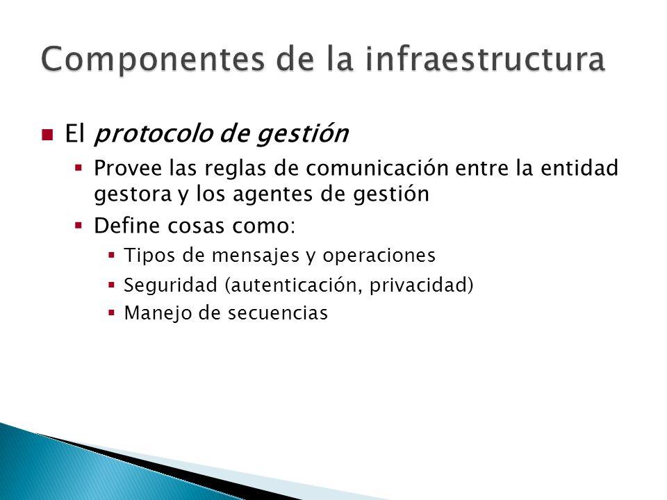 El protocolo de gestión Provee las reglas de comunicación entre la entidad gestora y los agentes de gestión Define cosas como: Tipos de mensajes y operaciones Seguridad (autenticación, privacidad) Manejo de secuencias