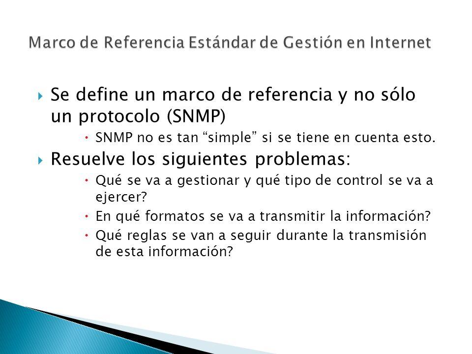 Se define un marco de referencia y no sólo un protocolo (SNMP) SNMP no es tan simple si se tiene en cuenta esto.