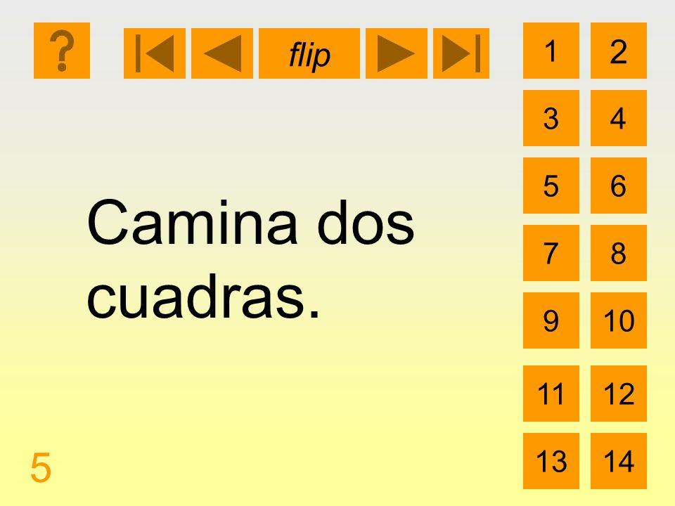 1 3 2 4 5 7 6 8 910 1112 1314 flip 5 Camina dos cuadras.