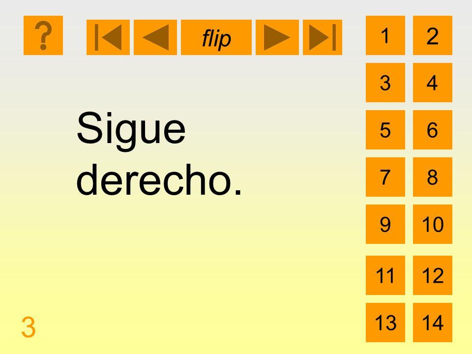 1 3 2 4 5 7 6 8 910 1112 1314 flip 3 Sigue derecho.