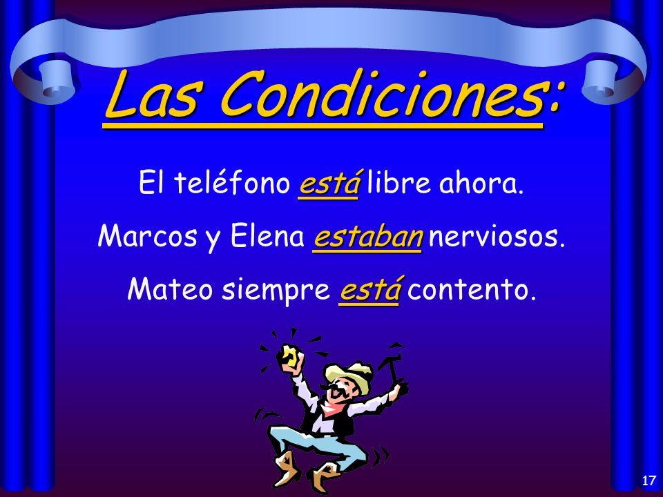 16 La Localización: está Madrid está en España. estaban Mis libros estaban en mi casa.