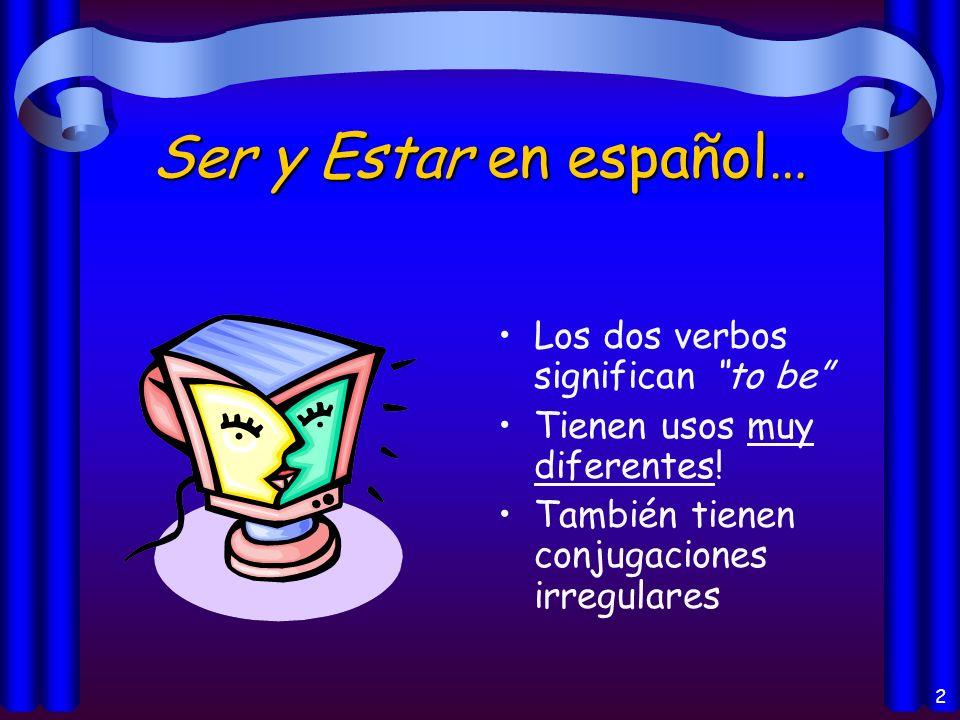 12 Los usos del verbo Estar: Location of a person or thing (la localización) Conditions (las condiciones) Progressive Tenses (los progresivos )