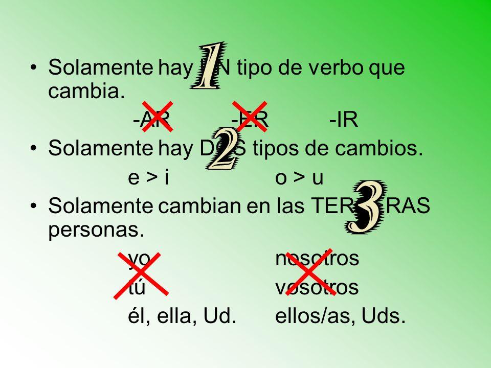 Solamente hay UN tipo de verbo que cambia. -AR-ER-IR Solamente hay DOS tipos de cambios. e > i o > u Solamente cambian en las TERCERAS personas. yonos