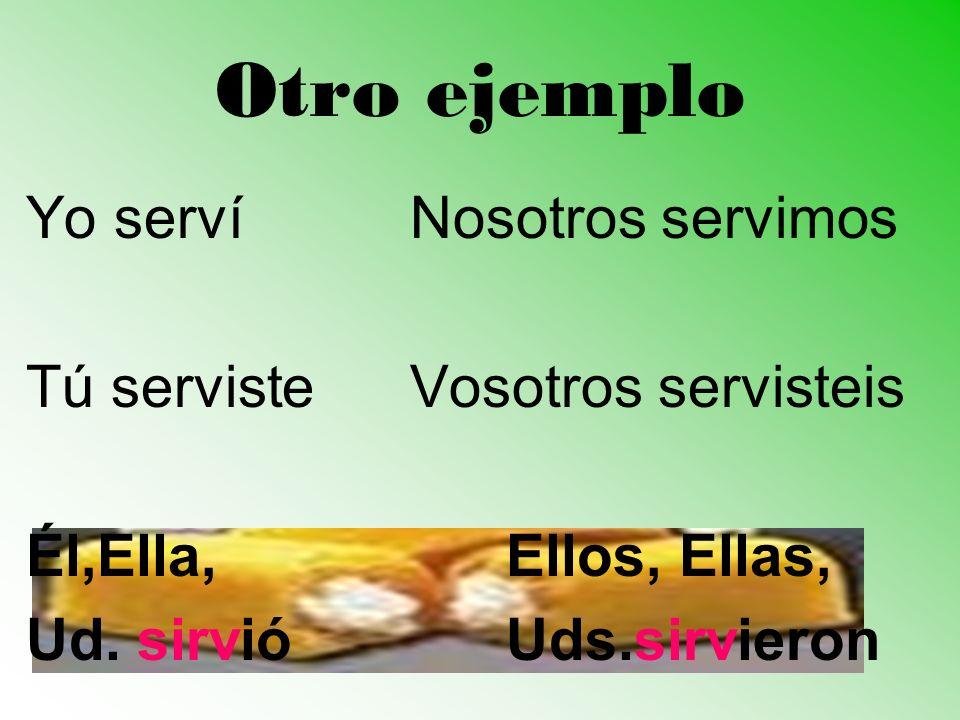 Otro ejemplo Yo servíNosotros servimos Tú servisteVosotros servisteis Él,Ella,Ellos, Ellas, Ud. sirvióUds.sirvieron