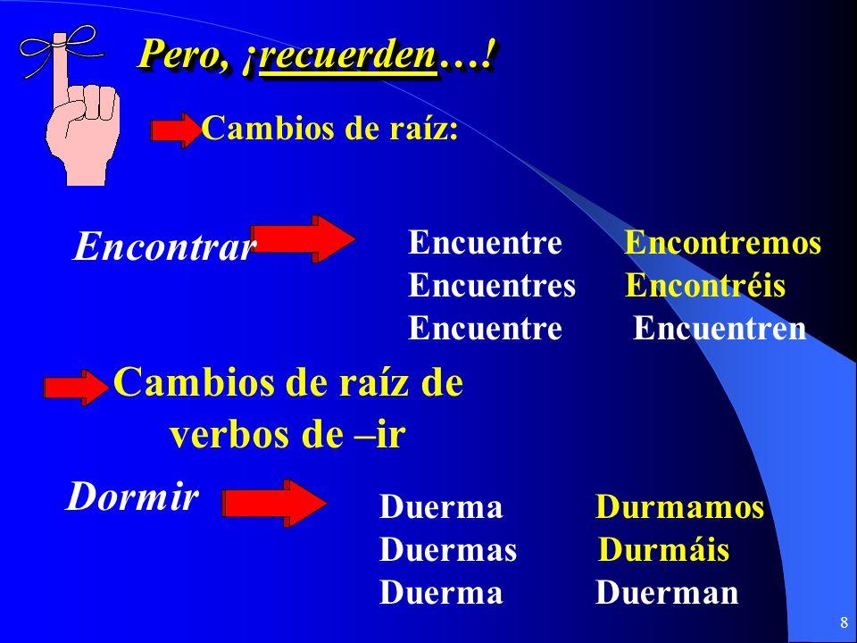 7 Pero, ¡recuerden…! Cambios ortográficos: Buscar Busco busque, busques, … Empezar Pagar Pago pague, pagues, … Empiezo empiece, empieces, …
