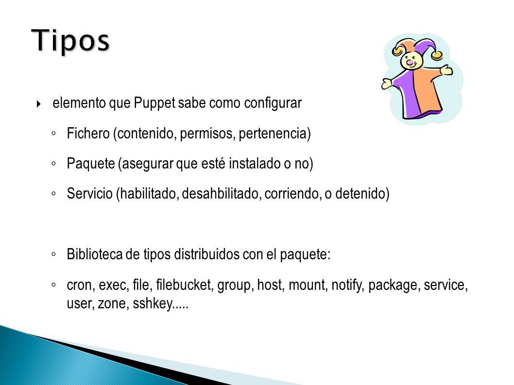 elemento que Puppet sabe como configurar Fichero (contenido, permisos, pertenencia) Paquete (asegurar que esté instalado o no) Servicio (habilitado, desahbilitado, corriendo, o detenido) Biblioteca de tipos distribuidos con el paquete: cron, exec, file, filebucket, group, host, mount, notify, package, service, user, zone, sshkey.....