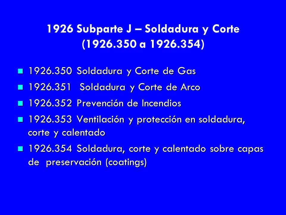 1926 Subparte J – Soldadura y Corte (1926.350 a 1926.354) n 1926.350 Soldadura y Corte de Gas n 1926.351 Soldadura y Corte de Arco n 1926.352 Prevenci