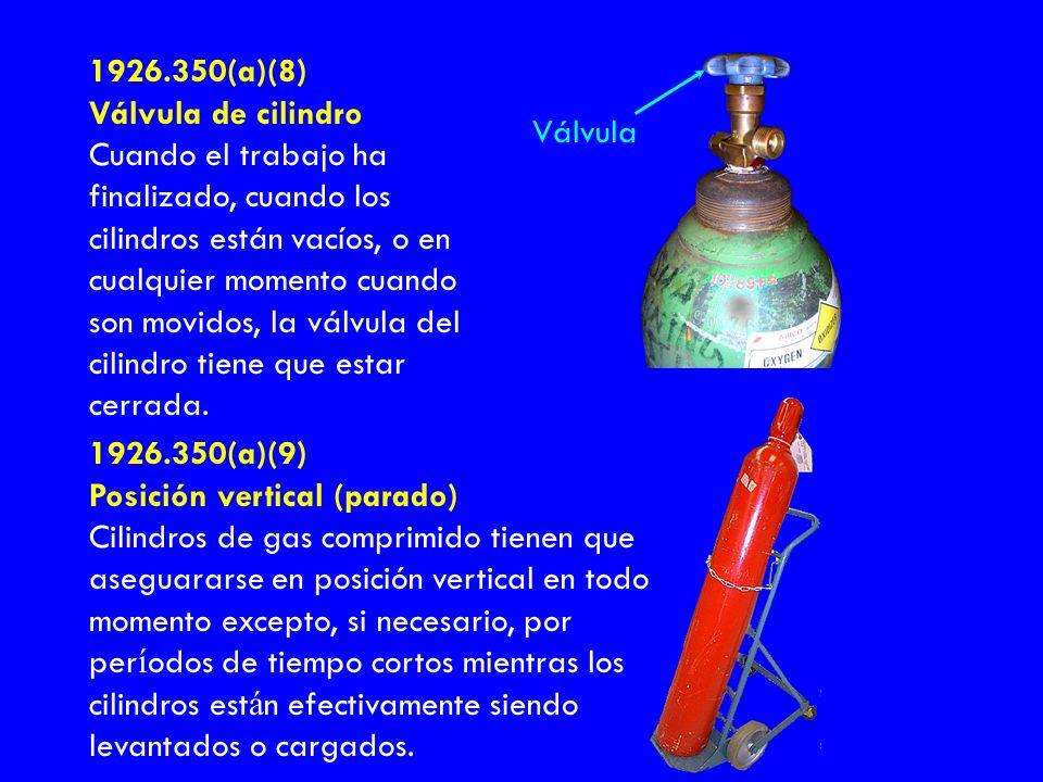 1926.350(a)(8) Válvula de cilindro Cuando el trabajo ha finalizado, cuando los cilindros están vacíos, o en cualquier momento cuando son movidos, la v