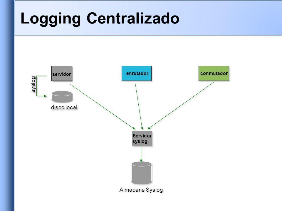 Equipos Cisco –Minimo: logging ip.de.host.de.logs Nodos de Unix y Linux –En /etc/syslog.conf, agrega: *.*@ip.of.log.host –Reinitializa syslogd Otros equipos tiene opciones similares –Opciones para controlar facility y level