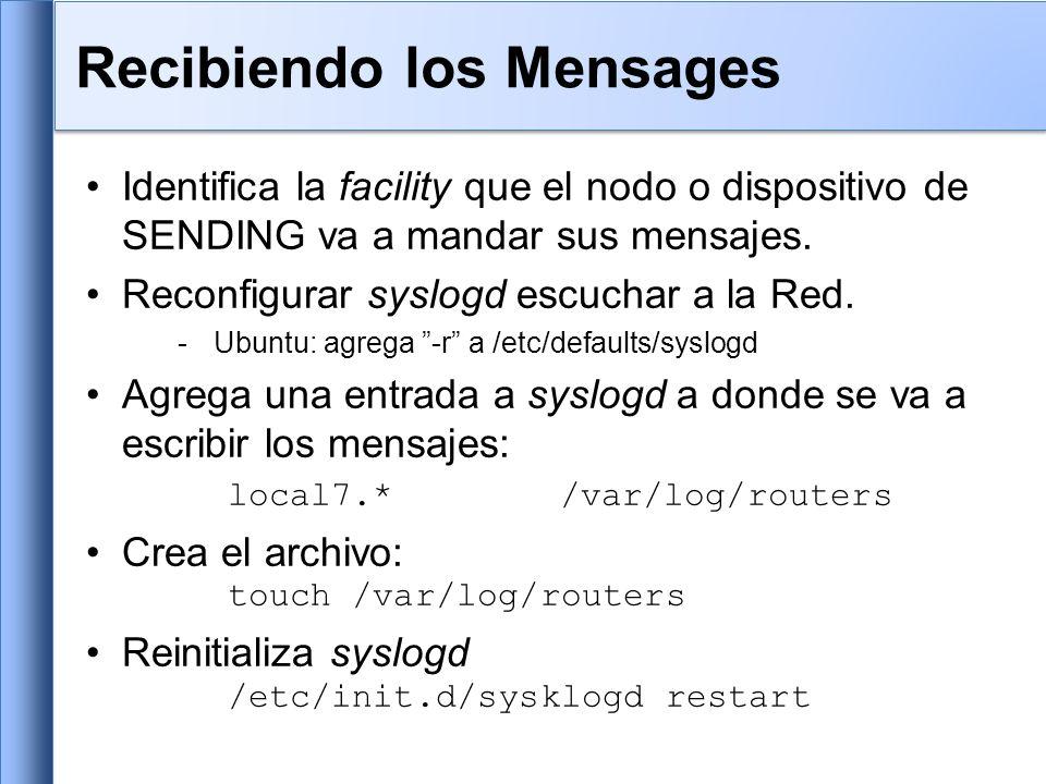 Usa protocolo UDP, puerto 514 Los mensages de syslog tienen dos atributos (mas que el mensaje mismo): FacilityLevel AuthSecurity Emergency(0) AuthprivUser Alert(1) ConsoleSyslog Critical(2) CronUUCP Error(3) DaemonMail Warning(4) FtpNtp Notice(5) KernNews Info(6) Lpr Debug(7) Local0...Local7 
